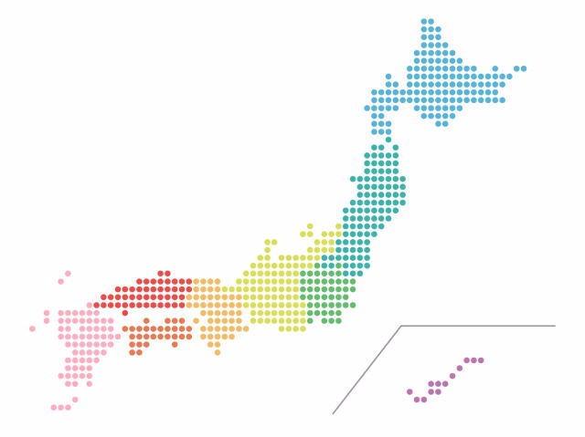 日本が各地方に分かれているイメージ