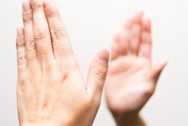 鏡合わせの手